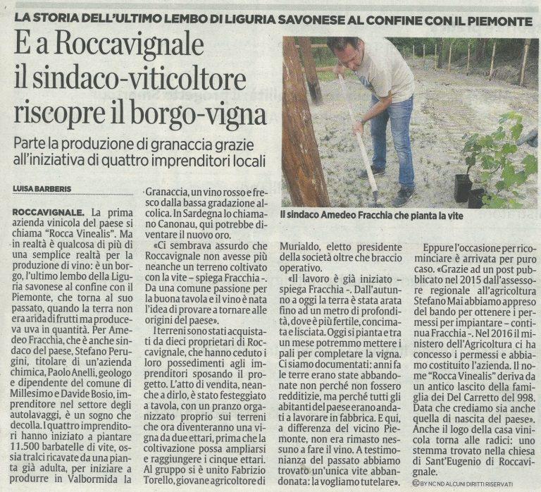 Il Secolo XIX 29 maggio 2017 - Azienda Agricola RoccaVinealis - Roccavignale, Provincia di Savona - Coltivazione di Granaccia - Vino Liguria
