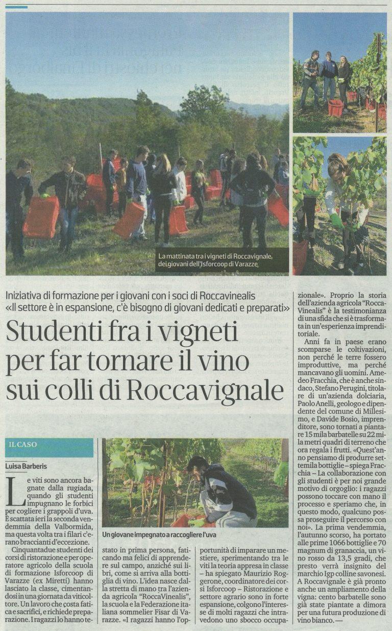 Il Secolo XIX 9 ottobre 2019 - Azienda Agricola RoccaVinealis - Roccavignale, Provincia di Savona - Coltivazione di Granaccia - Vino Liguria