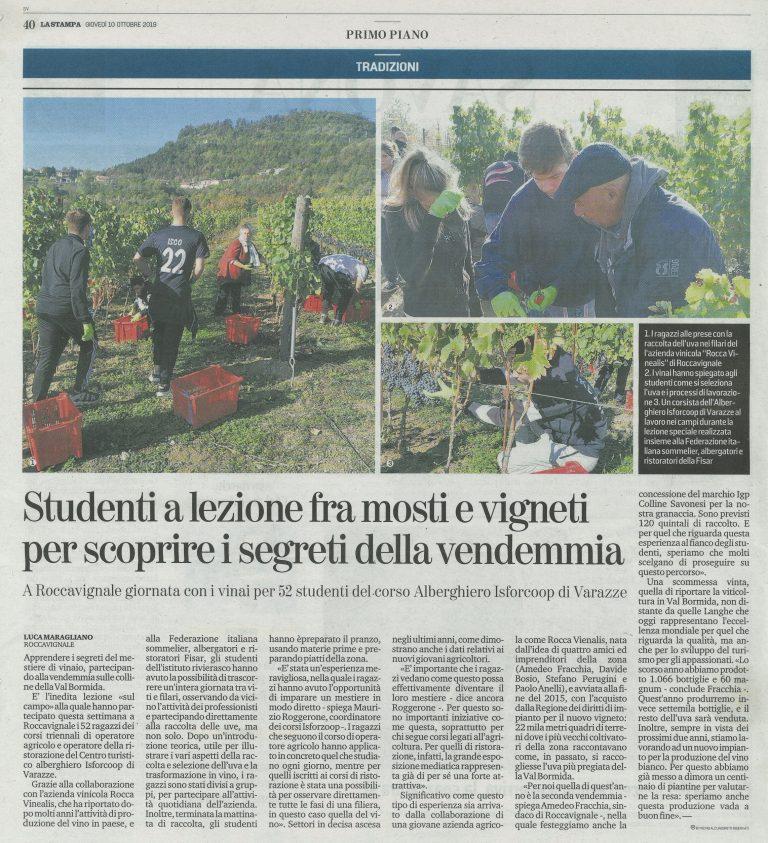 La Stampa 10 0ttobre 2019 - Azienda Agricola RoccaVinealis - Roccavignale, Provincia di Savona - Coltivazione di Granaccia - Vino Liguria