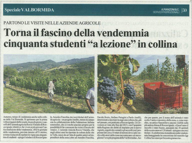 La Stampa 28 settembre 2019 - Azienda Agricola RoccaVinealis - Roccavignale, Provincia di Savona - Coltivazione di Granaccia - Vino Liguria