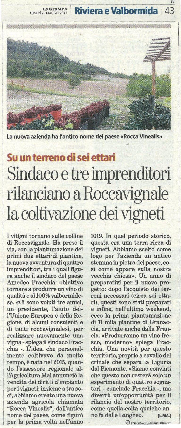 La Stampa 29 maggio 2017 - Azienda Agricola RoccaVinealis - Roccavignale, Provincia di Savona - Coltivazione di Granaccia - Vino Liguria