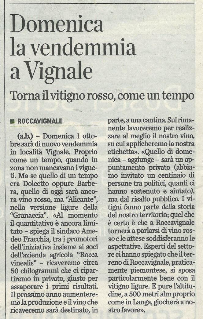 Unione Monregalese 27 settembre 2017 - Azienda Agricola RoccaVinealis - Roccavignale, Provincia di Savona - Coltivazione di Granaccia - Vino Liguria