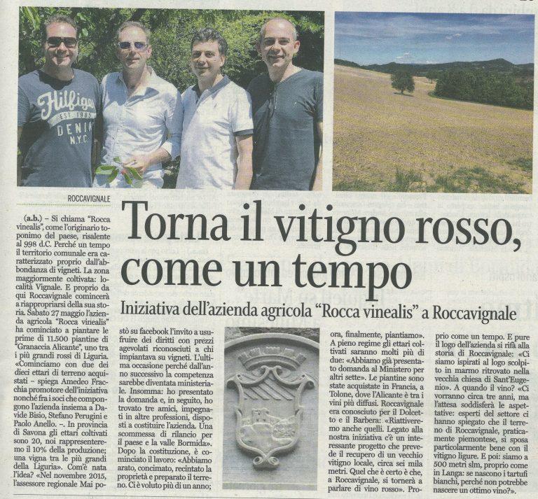 Unione Monregalese 31 maggio 2017 - Azienda Agricola RoccaVinealis - Roccavignale, Provincia di Savona - Coltivazione di Granaccia - Vino Liguria