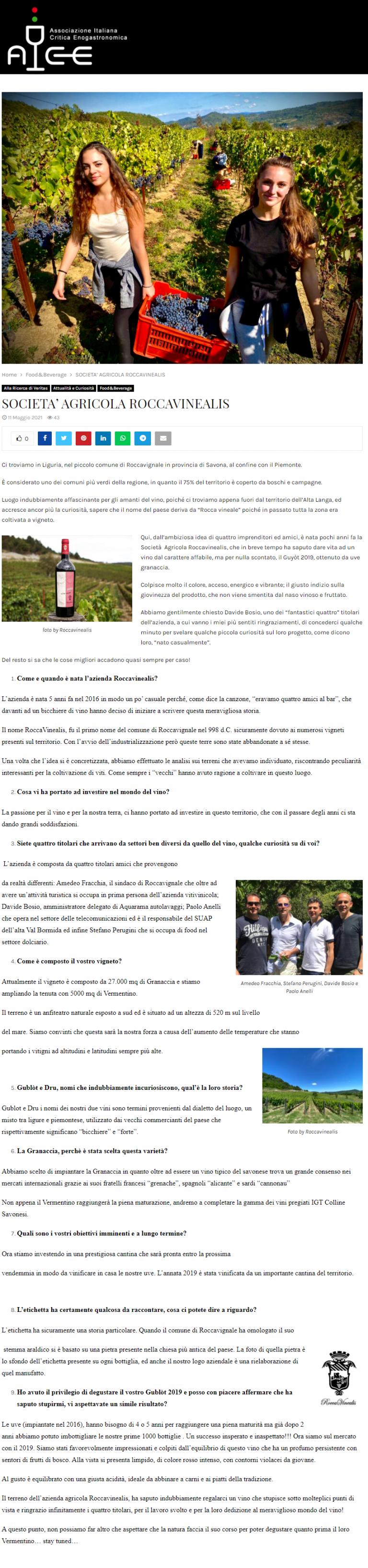 Azienda Agricola RoccaVinealis - Roccavignale, Provincia di Savona - Associazione Italiana Critica Enogastronomica - Maggio 2021