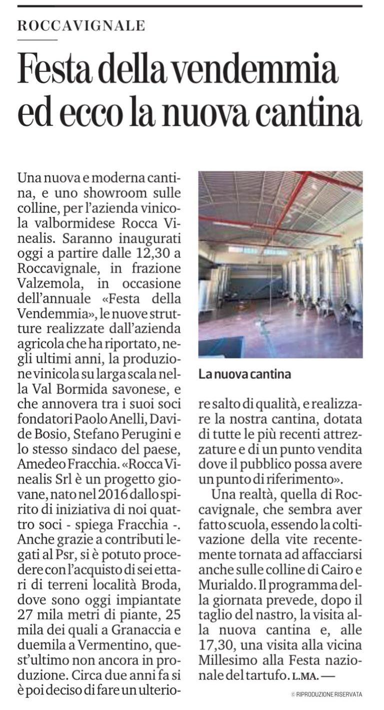 La Stampa 3 ottobre 2021 - Azienda Agricola RoccaVinealis - Roccavignale, Provincia di Savona - Coltivazione di Granaccia - Vino Liguria